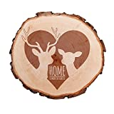 "Casa Vivente Natural Wood Slice - Beautifully Engraved Tree Slice Ornament - Theme: ""Home Is Where The Heart Is"" - Wall Or Garden Decoration - Door Sign - Love Gifts For Valentine's Day or Birthdays"