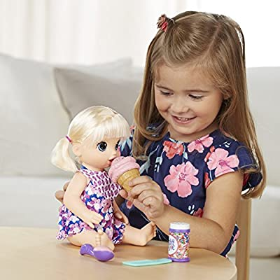 BABY ALIVE MAGICAL SCOOPS BABY: Blonde Baby Doll with Dress and Accessories: Ice Cream Cone, Scooper, Comb and More, Perfect Toy For 3 Year Old Girls and Boys and Up: Hasbro: Toys & Games