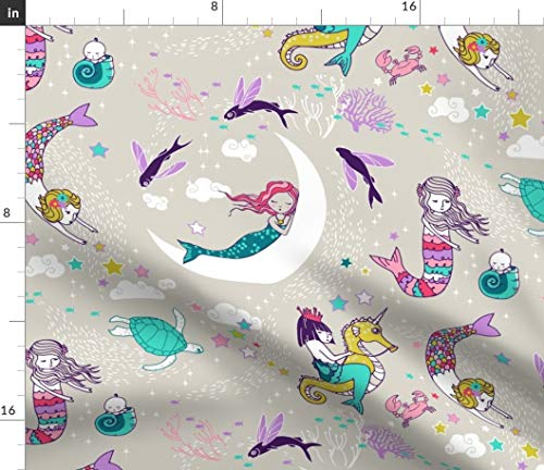 Sleepy Mermaids Fabric - Mermaid Lullaby (Candy) Large Rest Pajamas Girl Ocean Coral Fantasy Fish Bedtime Print on Fabric by the Yard - Basketweave Cotton Canvas for Upholstery Home Decor Bottomweight ()
