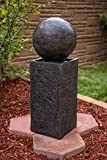 "29"" Floating Sphere Pedestal Fountain W/LED: Outdoor Water Feature, Garden Fountain, Patio Fountain. Exceptional Water Fountain for All Outdoor Spaces"