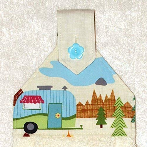 (Hanging Kitchen Towel - Ivory Plush Towel With Button in Scenic Camper Print - RV Camping Decor)