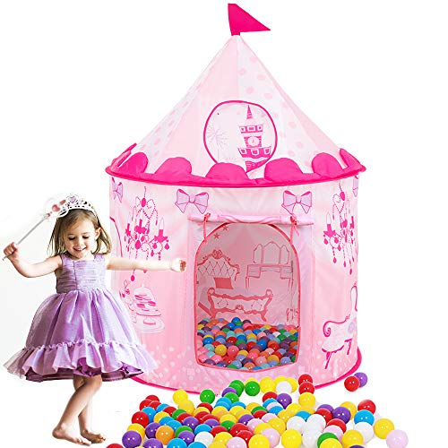 HAOCOO Kids Tent, Pop Up Baby Toys Play Tent House Princess Prince House Castle Outdoor and Indoor as a for 1-8 Years Old Kids Boy Girls Toddler Infant (Pink Castle)