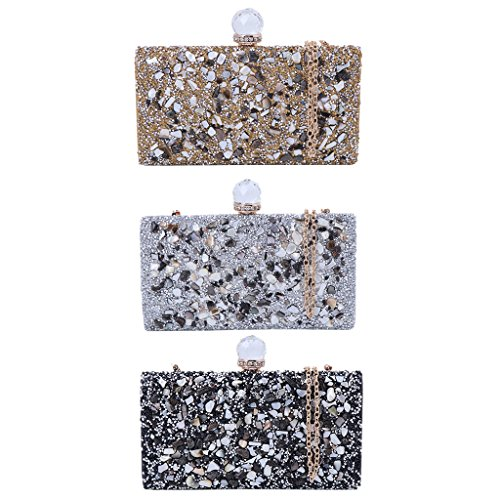 Handbag Evening Gold Silver Womens JAGENIE Clutch Prom Clutch Purse Bridal Rhinestone Elegant FzwxqUnC
