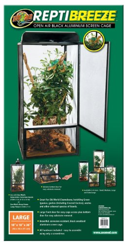 - Zoo Med ReptiBreeze Open Air Screen Cage, Large, 18 x 18 x 36-Inches