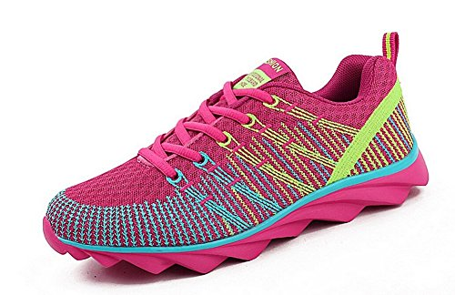 JiYe Sportschuhe Männer Frauen Outdoor Tennis Jogging Walking Fashion Sneaker, Laufschuhe Rose Rot