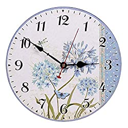 Misright 13 Inch European Country Style Wall Clock Retro Floral Print Battery Operated Round Frameless Silent Non-Ticking Digital Quiet Sweep