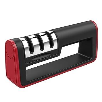 Afilador de cuchillos, sistema de afilado de 3 etapas, base antideslizante, afilador de
