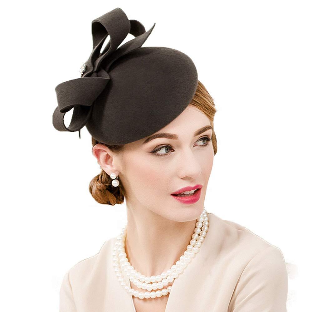 F FADVES Vintage Wool Fascinator Pillbox Hat Cocktail Tea Party Wedding Bowknot Headband Dark Grey