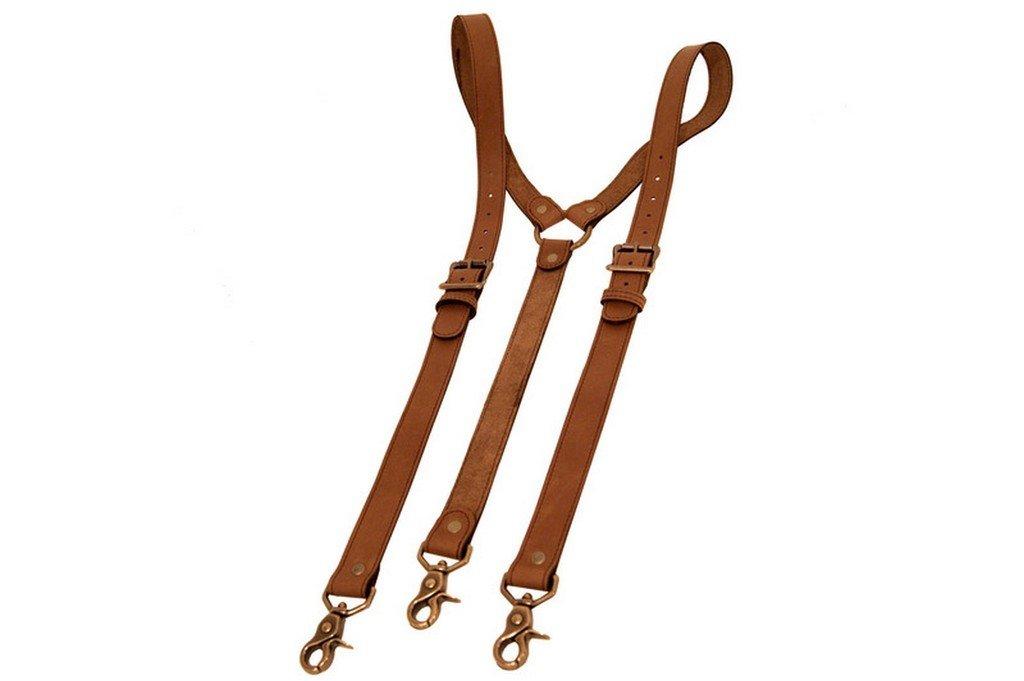 Project Transaction Men's Leather Suspenders M/L Brown/Antique Trigger Snaps