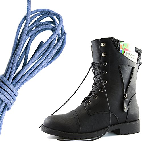 DailyShoes Womens Military Lace Up Buckle Combat Boots Zipper Sweater Ankle High Exclusive Credit Card Pocket, Royal Blue Black Pu
