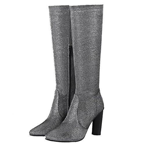 AIYOUMEI Damen Spitz Zehen Glitzer Kniehohe Stiefel mit Reißverschluss Langschaft Stiefel Winter Schuhe Silber