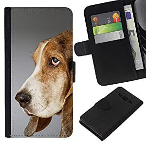 EJOY---La carpeta del tirón la caja de cuero de alta calidad de la PU Caso protector / Samsung Galaxy A3 / --Pointer Dog Inglés raposero