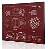 Ferrari F12 TDF Blueprint Artwork-Laser Marked & Personalized-The Perfect Ferrari Gifts