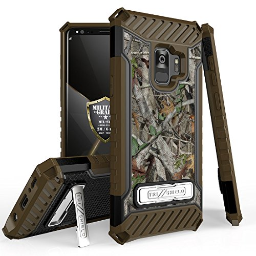 Beyond Cell Galaxy S9 Military Grade Drop Tested [MIL-STD 810G-516.6] Kickstand Card Slot Case - (Camo) and Atom Cloth for Samsung Galaxy S9