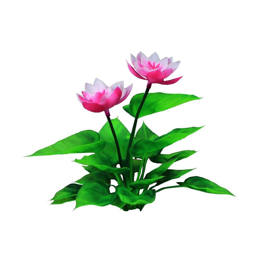 15cm hauteur petites plantes aquatiques artificielles, plantes d'aquarium Lotus Artisanat en plastique décorations d'aquarium, plantes vives de simulation d'aquarium créature paysage de l'aquarium gaeruite