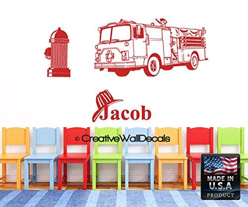 Wall Decal Vinyl Sticker Decals Art Decor Design Fire Truck Big Car Personalized Custom Name Kids Children Nursery (r1209)