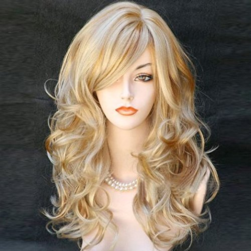 [25inch Sexy Golden Blond Long Big Wave Mix Full Volume Curly Wavy Wig Cosplay Costume Party Anime With Free Wig] (Full Bobby Light Costume)