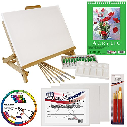 US Art Supply 33 Piece Custom Artist Acrylic Painting Set with Table Easel, Paint, Canvas and Accessories (Easel Painting Canvas)