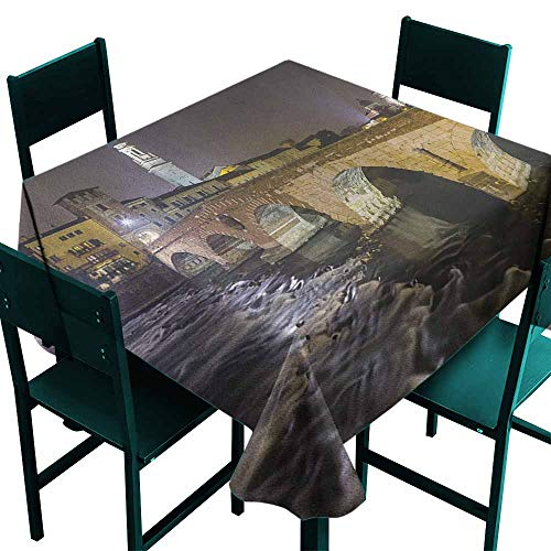 (Sunnyhome Square Table Cloth Landscape Ponte Pietra on River Adige Ancient Roman Bridge in The Old Town of Verona Italy for Square and Round Tables 50x50 Inch Black Beige)