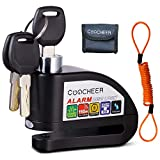 COOCHEER Alarm Disc Lock, Motorcycle Anti-theft Disc Brake Lock with 110dB Alarm Sound and Pouch Wheel Security Lock for Motorcycles Scooters Bikes