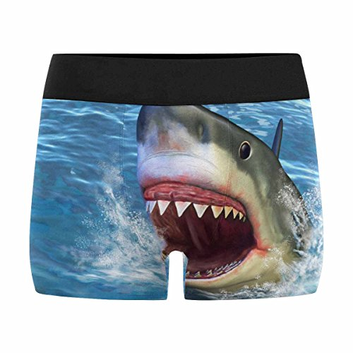 INTERESTPRINT Custom Men's Boxer Briefs Great White Shark Jumping Out of Water with Its Open Mouth XL (A Shark Jumping Out Of The Water)