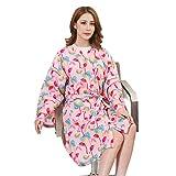 Kimono Style Salon Client Gown Robes Fashion Flamingo Print Salon Smock Professional Salon Capes Pink
