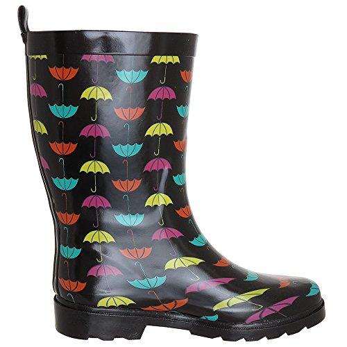 Capelli New York Damer Glänsande Klassiska Paraply Tryckt Gummi Regn Boot Black Combo