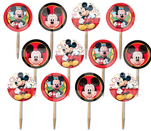Mickey Mouse Picks Red Yellow Black Cupcake Picks Cake Toppers -12 pcs -