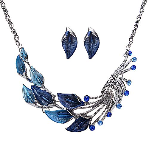 palettei Vintage Peacock Tail Crystal Necklace Earrings Set Fashion Charm Plant Flower Statement Jewelry Sets for Women Accessories (Blue) by palettei