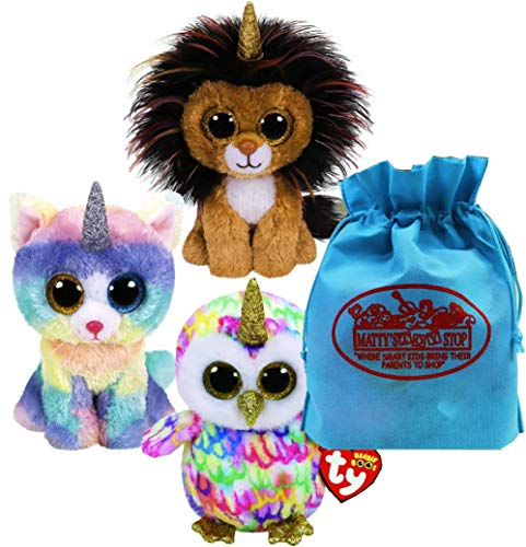 Ty Beanie Boos Fairytale Unicorns Ramsey (Lioncorn), Enchanted (Owlicorn) & Heather (Caticorn) Gift Set Bundle with Bonus Matty's Toy Stop Storage Bag - 3 Pack