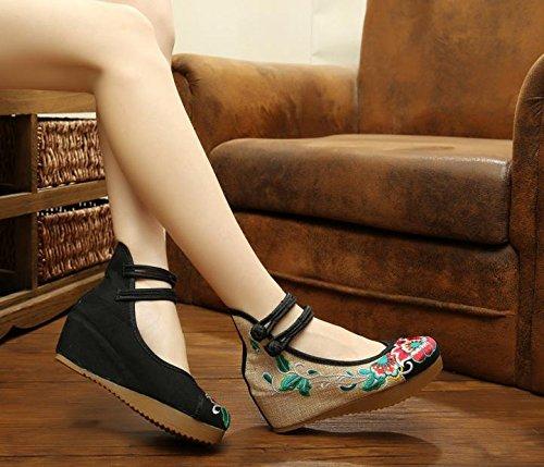 cómodo étnico manera WXT estilo ocasional Zapatos lino aumentados zapatos tendón femeninos del Black lenguado bordados nqfZP4q7