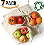 Reusable Produce Bags   Certified Organic Cotton Mesh & Muslin   Zero Waste Natural Food Keeper for Fruit & Vegetable Storage   Set of 7 (2 Small, 2 Medium, 2 Large + Tote Shopping Bag)