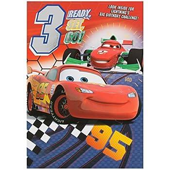 Amazon Disney Cars 3rd Birthday Card Lighting Mcqueen Office