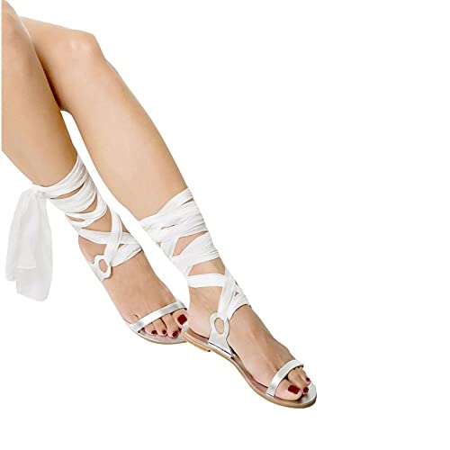 516e8a750038f8 Huiyuzhi Womens Strappy Leather Lace-up Sandals Wrap Gladiator Flat Sandal  (7.5 B(