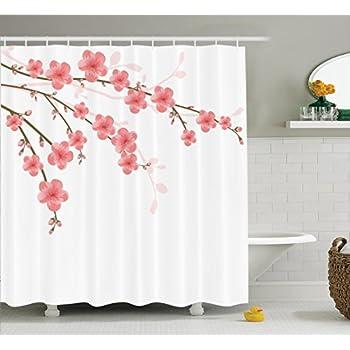 House Decor Shower Curtain Set By Ambesonne, Cherry Blossom April  Springtime Romantic Feminine Illustration Artwork In Soft Colors, Bathroom  Accessories, ...