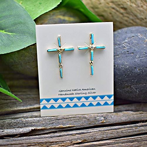 (Genuine Sleeping Beauty Turquoise Cross Earrings in 925 Sterling Silver, Native American Handmade in the USA, Nickle Free)