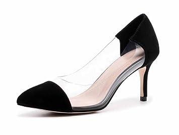 Mujer Transparente Zapatillas 2018 Primavera Nuevo Tacones Altos Cuero Moda Sandalias (Color : Black ,