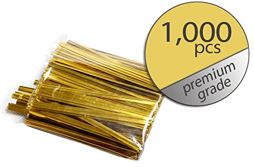 1,000 Pcs Gold Twist Ties - Metallic Twist Ties - Premium Grade - Bulk Value Pack 3