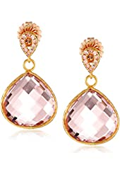 Coralia Leets Jewelry Design Peach Colored Pave Post Teardrop Earrings