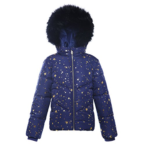 (Rokka&Rolla Girls' Heavy Padded Water-Resistant Hooded Thickened Quilted Puffer Jacket)