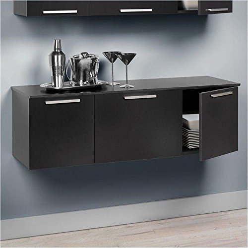 l Mount Buffet Floating Media Storage Cabinet Desk Hutch Living/Dining Room Furniture Black ()