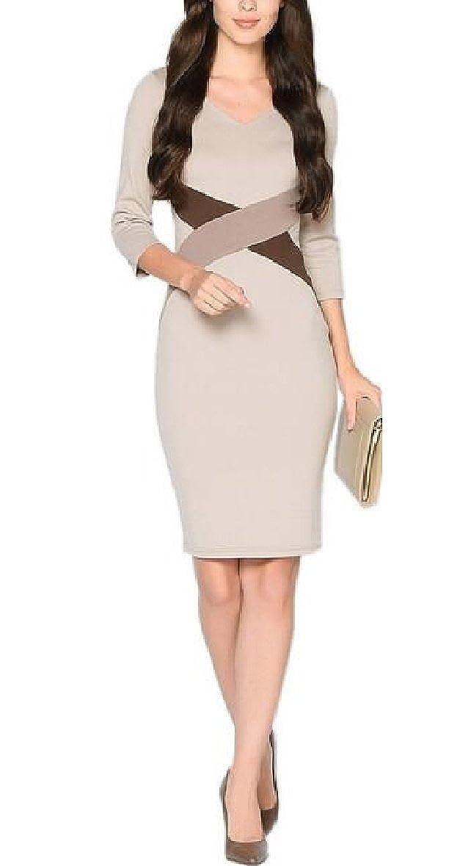 ZXFHZS Womens V-Neck 3//4 Sleeve Office Work Business Bodycon Pencil Dress 3 XS