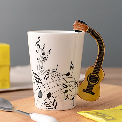 Musical Notes Design Bone China Ceramic Coffee Mug Cup With Guitar Handle , A