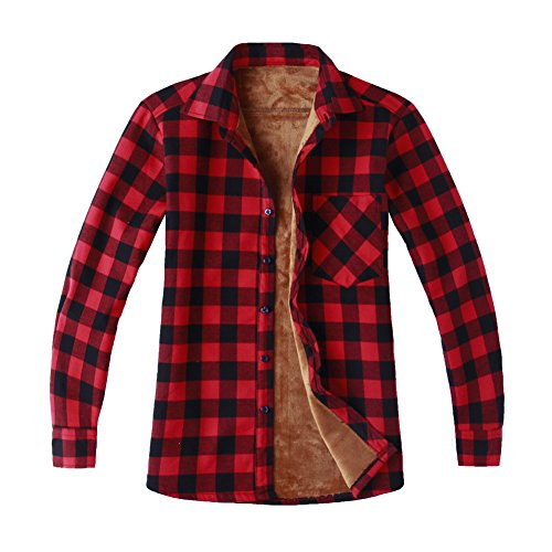 Men's Fleece Lined Long Sleeve Plaid Flannel Shirt Jacket Red Black X-Small - Red Plaid Jacket
