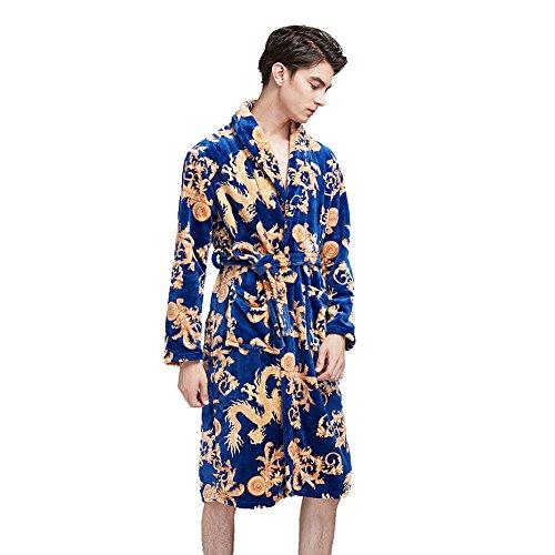 SexyTown Men's Soft Kimono Bathrobe Warm Fleece Shawl Collar Spa Robe (Medium/Large, Style2-Royal Blue) (Funny Men Bathrobe)