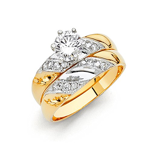 (14k Two Tone Gold SOLID Engagement Ring and Wedding Band 2 Piece Set - Size 8.5)