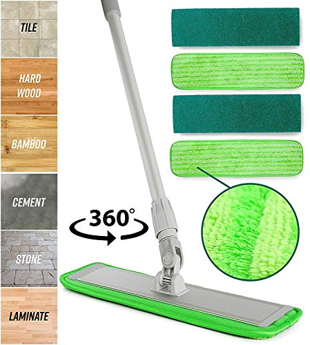 Microfiber Mop Floor Cleaning System - Washable Pads Perfect Cleaner for Hardwood, Laminate & Tile - 360 Dry Wet Reusable Dust Mops with Soft Refill Pads & Handle for Wood, ()