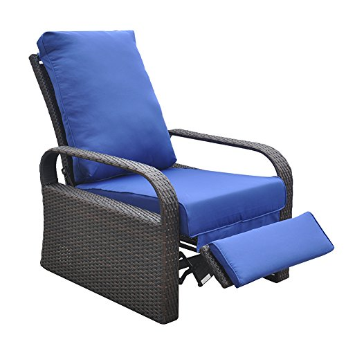 Outdoor Recliner Chair Replacement Cushion Cover, Patio Furniture Chair Sofa Washable Cushion Deep Seat Covers, UV Resistant, Fade Resistant and Water Spill Repellent (Royal Blue Cushion Cover) (Outdoor Replacement Cushion Covers)
