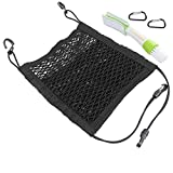 Universal Car Mesh Net Organizer Storage, SENHAI 3-Layer Elastic Divider Bag Holder, Dog Pet Barrier Phone Bottle Kids Disturb 2 D-Shaped Carabiners + 1 Car Air Vent Duster - Black