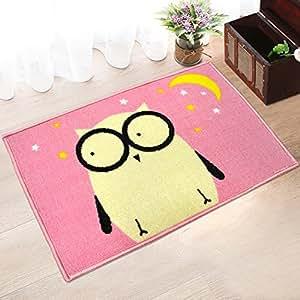 MeMoreCool Children Cartoon Animal Doormat Indoor/Outdoor Footmats Anti-slipping Eco-friendly Machine Washable Rugs Reactive Printing Owl Pink 16 X 24 Inch